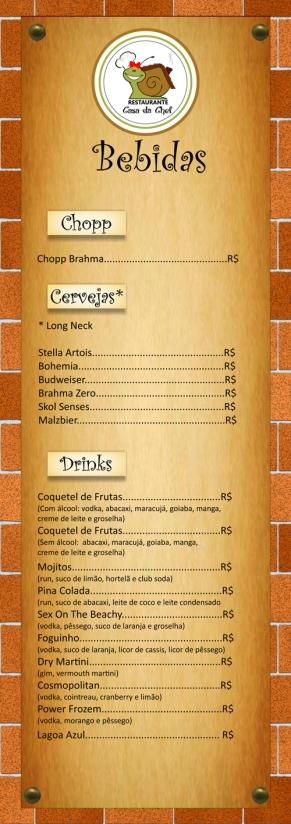 Cardápio de bebidas Restaurante Casa da Chef (frente).