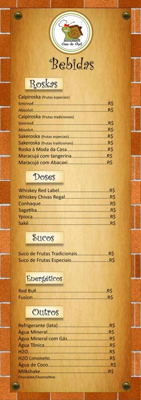 Cardápio de bebidas Restaurante Casa da Chef (verso).