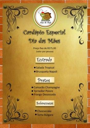 Cardáío especial Dia das Mães Restaurante Casa da Chef.