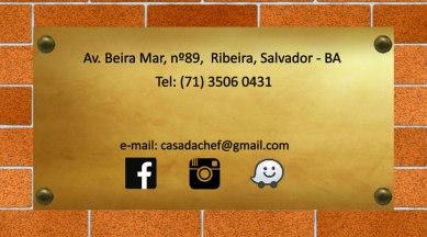 Programação visual do cartão de visitas Restaurante Casa da Chef (verso).