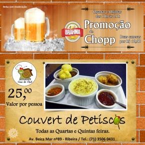 Peça de divulgação Promoção Chopp Dobrado & Couvert de Petiscos Restaurante Casa da Chef