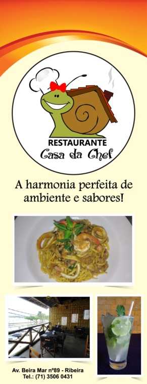 Peça de divulgação Restaurante Casa da Chef (frente).