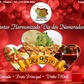 Peça de divulgação Jantar Harmonizadi Dia dos Namorados 2017 Restaurante Casa da Chef