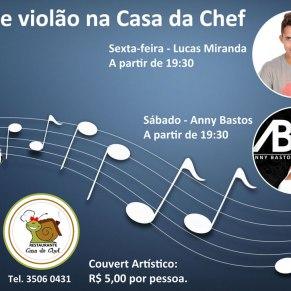 Chamada online para o Restaurante Casa da Chef - Som Voz e Violão.