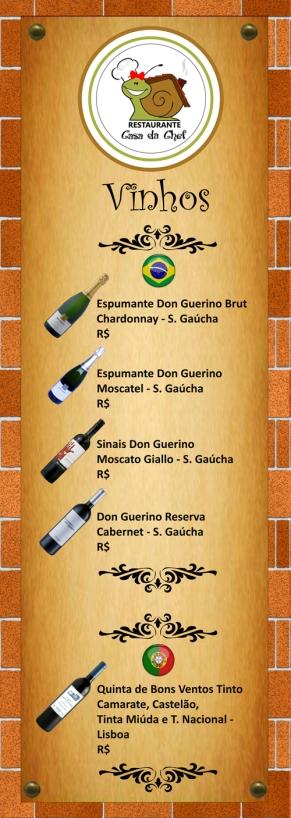 Carta de Vinhos Restaurante Casa da Chef (frente).