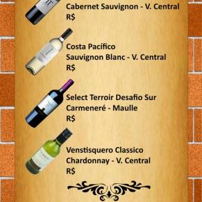 Carta de Vinhos Restaurante Casa da Chef (verso).